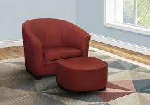 JUVENILE CHAIR - 2 PCS SET / RED LEATHER-LOOK FABRIC