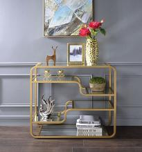 Acme 81093 Everly quinn abdiel astrid gold finish metal frame glass sofa entry console table