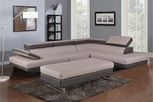 GU-8136GY-2PC 2 pc Latitude run oleander two tone grey leather gel sectional sofa adjustable headrests chaise