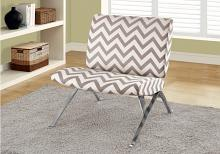 """ACCENT CHAIR - DARK TAUPE """" CHEVRON """" WITH CHROME METAL"""
