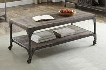 Acme 81445 Gorden weathered oak finish wood antique nickel metal frame coffee table