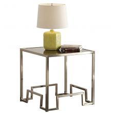 Acme 81627 Everly quinn cullompt damien glass top champagne metal finish frame end table