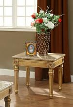 Acme 81717 Fleur de lis living robertson daesha antique gold finish wood marble top chair side end table