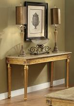 Acme 81718 Fleur de lis living robertson daesha antique gold finish wood marble top sofa entry console table