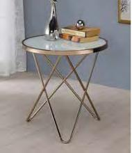 Acme 81827 Wrought studio bock valora frosted glass top champagne finish frame round end table