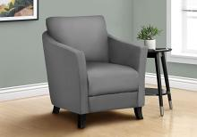 ACCENT CHAIR - GREY LEATHER-LOOK FABRIC
