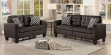 Homelegance 8202CH-SL 2 pc sinclair chocolate fabric sofa and love seat set with tufted backs