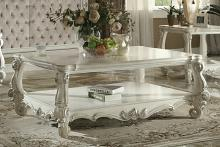 Acme 82123 Versailles ii bone white finish wood carved accents coffee table