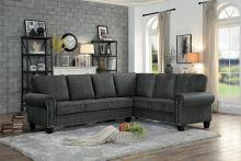 Homelegance HE-8216DG 2 pc Cornelia dark gray faux linen like fabric sectional sofa set nail head trim