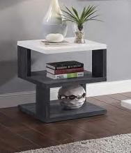 Acme 82172 Orren ellis acad pancho mid century modern gray & white high gloss finish end table