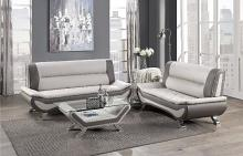 Homelegance 8219BEG-2pc 2 pc veloce beige and grey faux leather sofa and love seat set with chrome legs