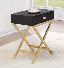 Acme 82296 Coleen black finish wood brass finish frame side table