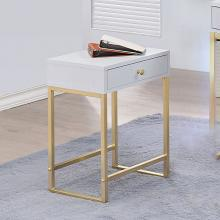 Acme 82298 Coleen white finish wood brass finish frame side table