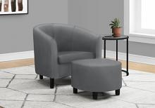 ACCENT CHAIR - 2PCS SET / GREY LEATHER-LOOK