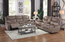 Home Elegance HE-8230FBR2pc 2 pc Bastrop brown fabric motion sofa and love seat set