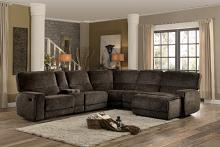 Homelegance HE-8238-6pcA 6 pc Shreveport brown fabric sectional sofa with recliners ,console table and chaise