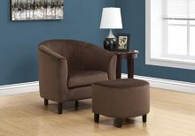 ACCENT CHAIR - 2PCS SET / DARK BROWN QUILTED FABRIC