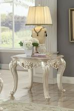 Acme 82442 Astoria grand jacqueline gorsedd antique white finish wood marble top chair side end table