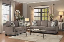 Home Elegance HE-8245BR-SL 2 pc Kenner brown fabric sofa and love seat set