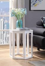 Acme 82462 Reon white finish wood marble top hexagon chair side end table