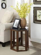Acme 82467 Reon walnut finish wood marble top hexagon chair side end table