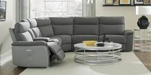 Homelegance 8259DG-6PC 6 pc Maroni dark gray fabric sectional sofa power motion recliners and console
