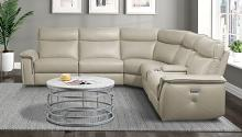 Homelegance 8259RFTP-6PC 6 pc Maroni taupe top grain leather match sectional sofa power motion recliners and console