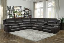 Homelegance 8260DB-6pc 6 pc Falun dark brown leather gel match sectional sofa with power motion recliners