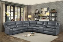 Homelegance 8260GY-6pc 6 pc Falun gray leather gel match sectional sofa with power motion recliners