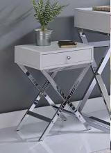 Acme 82696 Ivy bronx durlston coleen white finish wood chrome finish frame side table