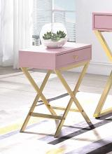 Acme 82698 Ivy bronx durlston coleen pink finish wood gold finish frame side table