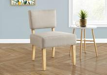 ACCENT CHAIR - TAUPE FABRIC / NATURAL WOOD LEGS