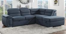 Homelegance 8277NBU 3 pc Platina blue fabric sectional sofa set with pull out sleep area