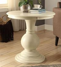 Acme 82818 Ivy bronx durlston alyx antique white finish wood round side table