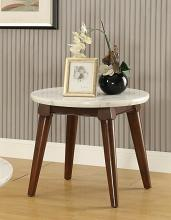 Acme 82892 Gasha walnut finish wood white marble top round chair side end table