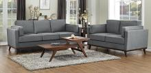 Homelegance 8289GY-SL 2 pc Orren ellis bedos gray textured fabric sofa and love seat set with wood trim
