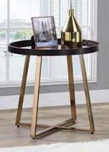Acme 82947 Wrought studio bock hepton walnut finish top champagne finish frame round end table