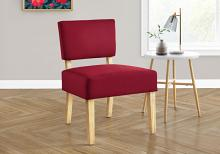 ACCENT CHAIR - RED FABRIC / NATURAL WOOD LEGS