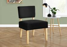 ACCENT CHAIR - BLACK FABRIC / NATURAL WOOD LEGS