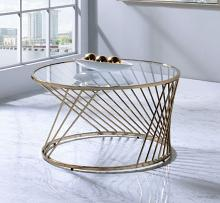 Acme 82990 Everly quinn bluelipe geometric champagne metal round clear glass top coffee table