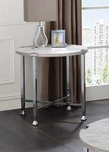 Acme 83212 Foundry select cerie brecon white oak finish wood top chrome metal frame round end table