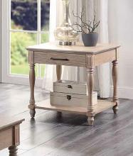 Acme 83222 Ebern designs salamone ariolo antique white finish wood end table with drawer