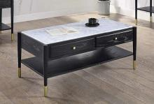 Acme 83225 Highland dunes fleck atalia black finish wood marble top coffee table