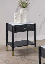 Acme 83227 Highland dunes fleck atalia black finish wood marble top end table