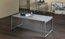Acme 83235 3 pc Orren ellis mackelprang jurgen faux concrete top and silver metal frame coffee table set