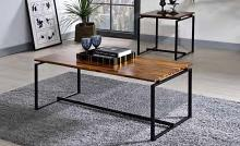 Acme 83240 3 pc Orren ellis mackelprang jurgen oak finish wood and black metal frame coffee table set