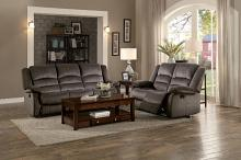 Home Elegance HE-8329CH-SL 2 pc Jarita chocolate fabric sofa and love seat set recliner ends