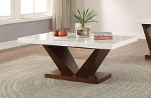 Acme 83335 Wrought studio asuncion forbes walnut finish wood white marble top coffee table