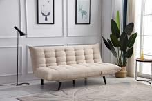 8356-BG Ophelia beige fabric click clack folding futon sofa bed lounge