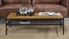 Acme 83865 Ivy bronx lattimer kande oak finish top black finish frame coffee table